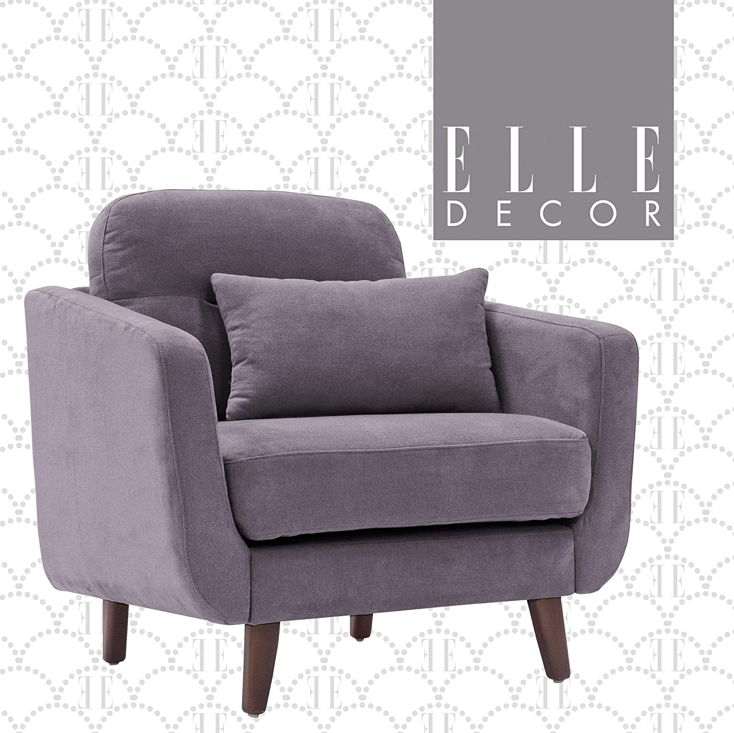 Elle Decor Chloe Upholstered Living Room Armchair, Fabric Couch, Mid-Century Modern Tufted Chair with Padded Back Cushion, Arm, Blue Gray
