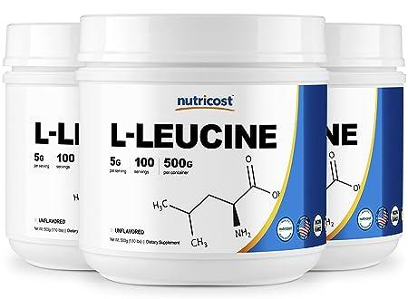 Nutricost Pure L-Leucine Powder 500 Grams 3 Bottles