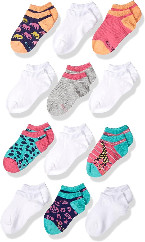 Stride Rite Girls' Little 12 Pack Fun Fashion No Show Socks Blend