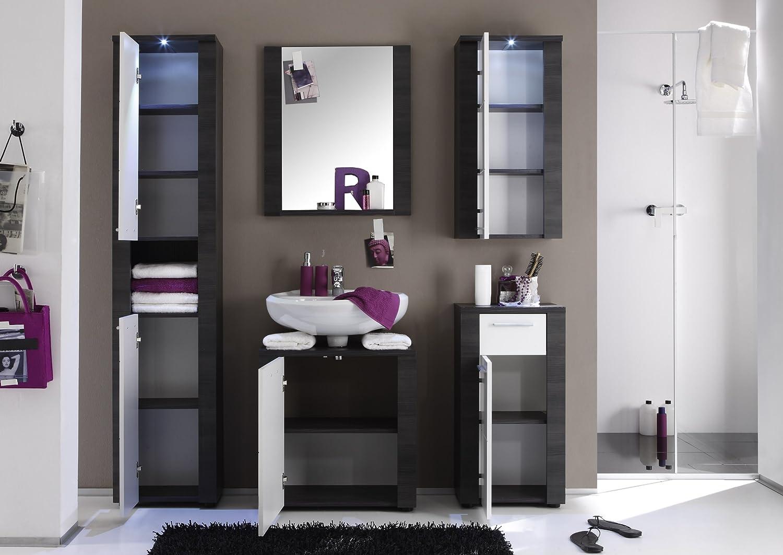Trendteam XP90210 Bad Möbel Set 5 Teilig Weiss, Esche Grau Nachbildung,  BxHxT 181x184x35 Cm: Amazon.de: Küche U0026 Haushalt