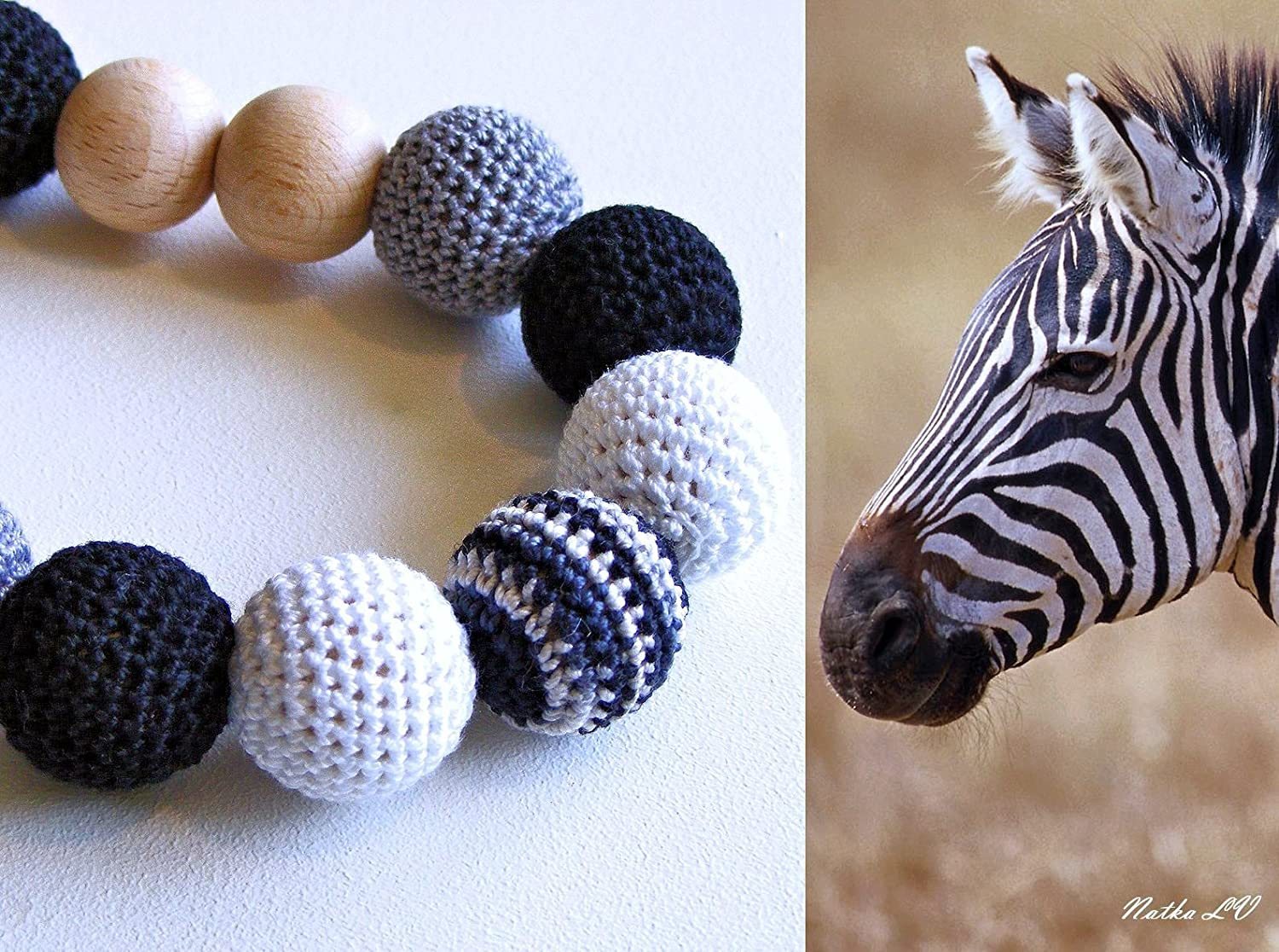 Teething necklace Zebra, nursing necklace, breastfeeding necklace, crochet wooden necklace, women's jewelry, natural, black white grey, mom necklace, shower gift, new baby necklace women's jewelry