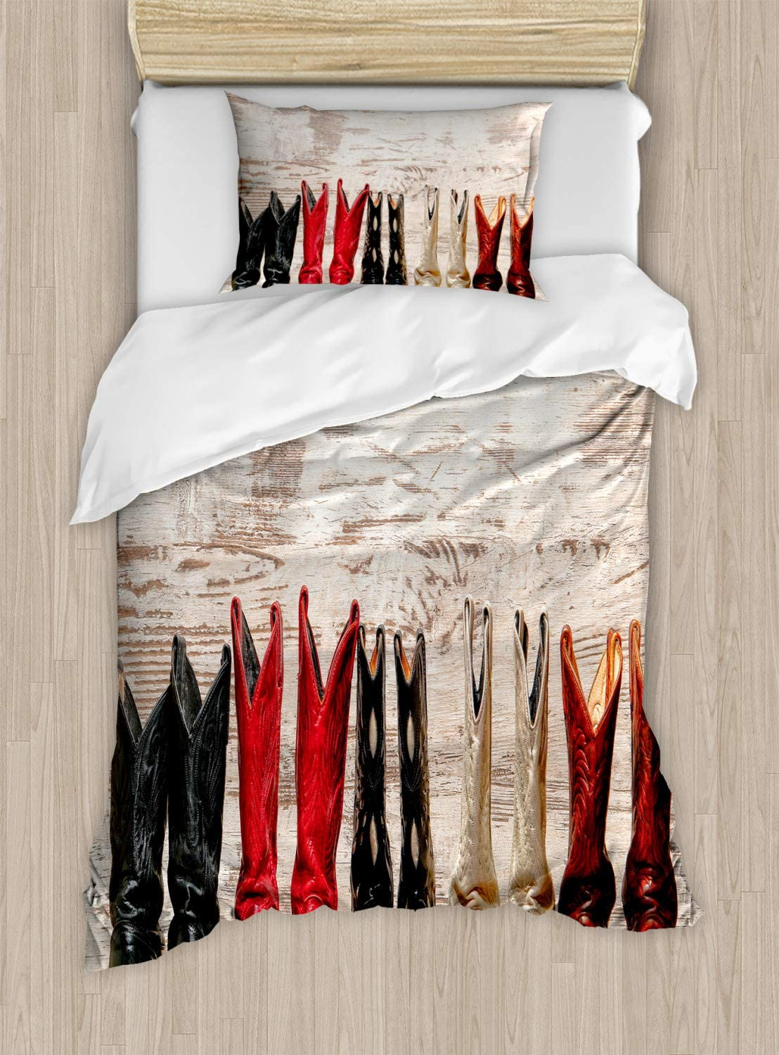 Ambesonne Western Duvet Cover Set, American Cowgirl Leather Boots Rustic Wild West Theme Cultural Print, Decorative 2 Piece Bedding Set with 1 Pillow Sham, Twin Size, Beige Red