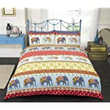 Jane Elephants Red Yellow Navy Blue Double Bed Size Indian Traditional Vintage Detail Duvet Cover Quilt Bedding Set Hallways ®