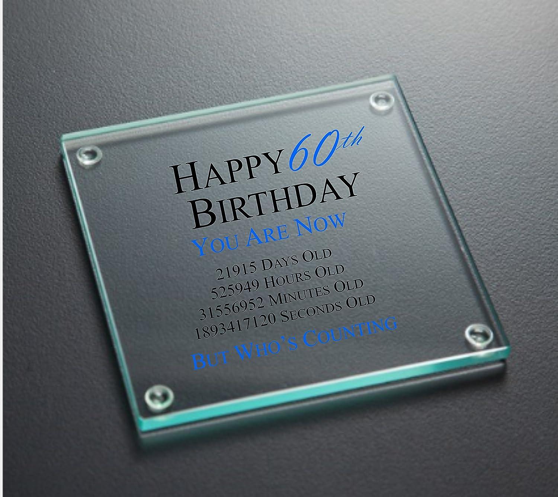 Happy 60th Birthday Glass Coaster Blue