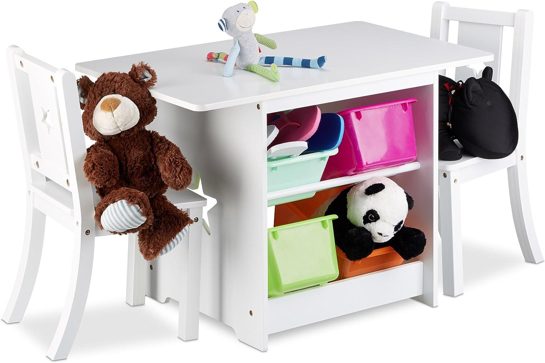 Relaxdays Mobiliario Infantil Albus con Espacio de almacenaje, Una Mesa & Dos sillas, Diseño Unisex, Blanco