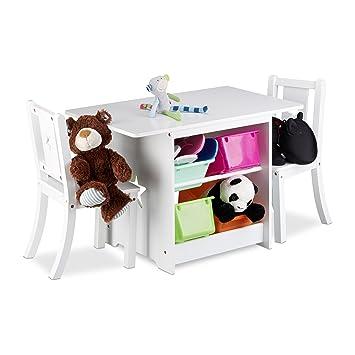 Relaxdays Ensemble Table Et Chaises Enfants En Bois ALBUS Pour Les Filles Garcons