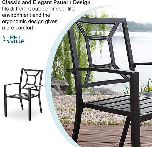PHI VILLA Metal Patio Outdoor Dining Chairs Set of 2 Stackable Bistro Deck Chair