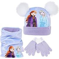 Disney Frozen 2 Conjunto de Bufanda y Guantes Para Niña Con Gorro Princesas Anna y Elsa, Set de 3 Piezas Accesorios…