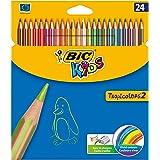 Bic Kids Tropicolors Matite Colorate senza Legno Confezione da 24 Matite Colori Assortiti