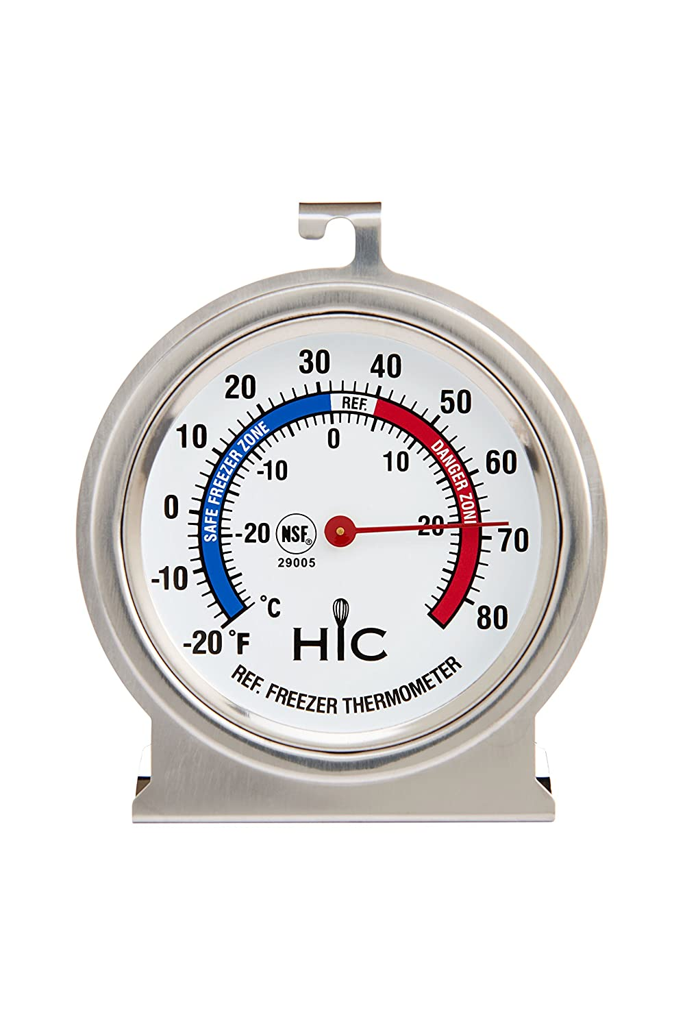 HIC Harold Import 29005 HIC Roasting Refrigerator Freezer Thermometer, Large 2.5-Inch Easy-Read Face with Safe Temperature Guide, Stainless Steel