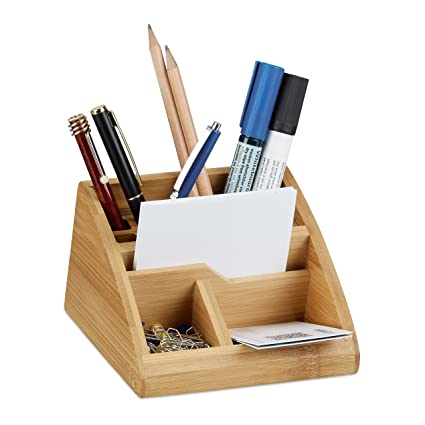 Amazon.com: Relaxdays Bamboo Desk Organizer, Stationery Pen ...