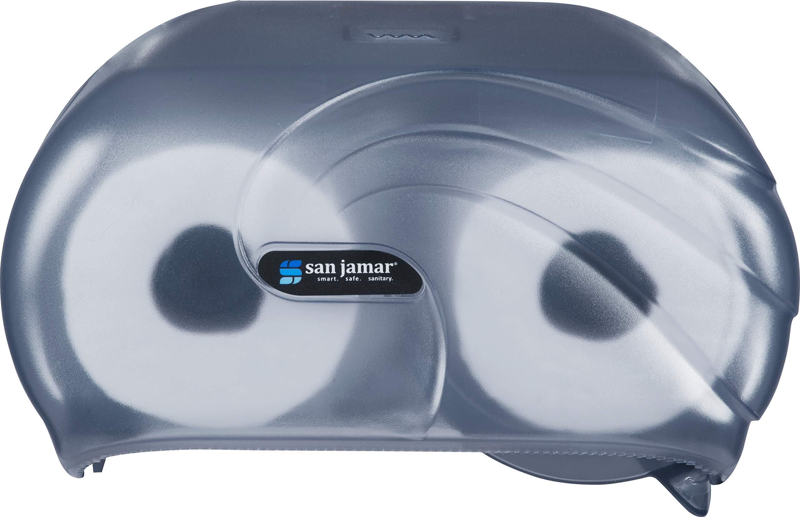 San Jamar R3690TBL Versatwin Double Roll Toilet Tissue Dispenser with Bio Pruf, Oceans, Arctic Blue