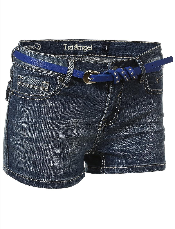7Encounter V-Flap Back Pocket Medium Wash Denim Short Shorts with Blue Belt