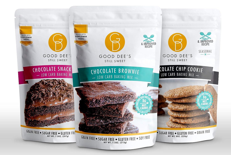 Good Dee's Low Carb Baking Mixes | Chocolate Brownie Mix, Chocolate Snack Cake Mix & Chocolate Chip Cookie Mix, Gluten-Free, Sugar-Free, Grain-Free, Dairy-Free - Diabetic, Atkins & WW Friendly