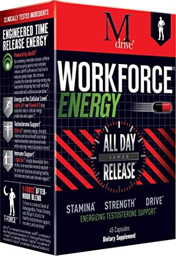 Workforce – All Day Sustained Energy Booster for Men and Women, Extended Release Caffeine Pills, Zinc, KSM-66 Ashwagandha, Theacrine, ZumXr – No Crash or Jitters Energy, Stress Relief, 45 Caps