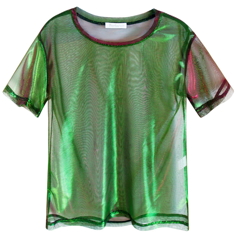 Perfashion colorful Fine Mesh Shirt Metallic Shimmer See Through Shirt For Women, Green Red, X-Large by Perfashion (Image #5)