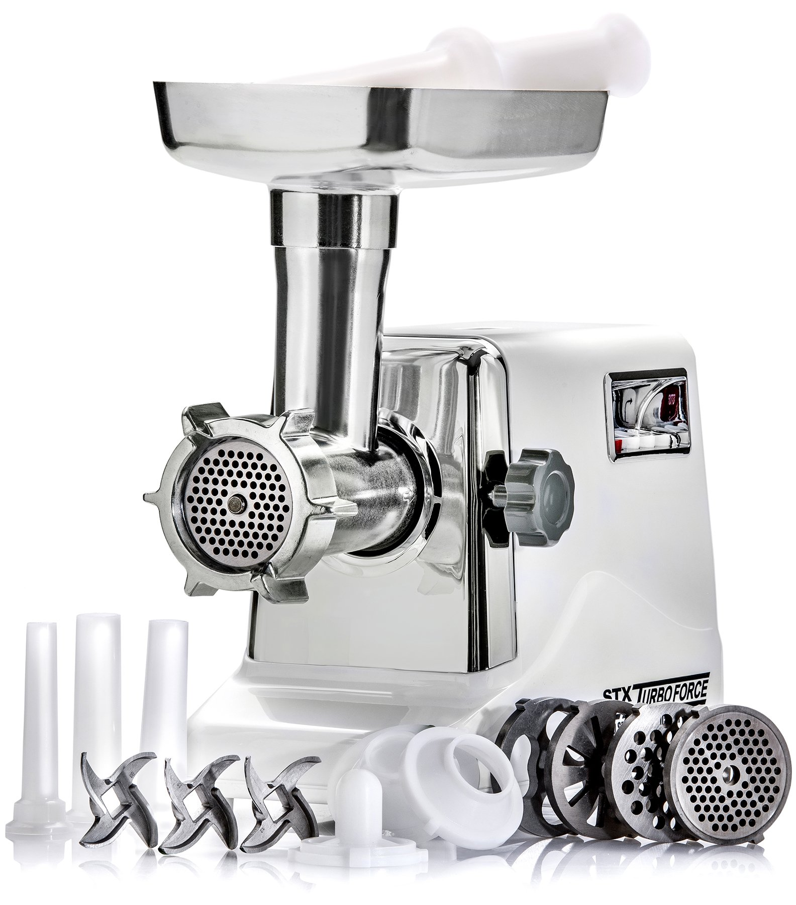 STX International Model STX-3000-TF Turboforce Electric Meat Grinder & Sausage Stuffer Kit - Size #12 - 3 Grinding Plates, 3 Blades, 3 Sausage Stuffing Tubes & Kubbe Attachment by STX INTERNATIONAL