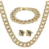 """Gold Color Tone Brass Fully CZ Iced Out 15mm 30"""" Hip Hop Miami Cuban Chain & 9"""" Bracelet (NOT Real Gold)"""