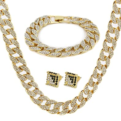 Amazon.com  Gold Color Tone Brass Fully CZ Iced Out 15mm 30