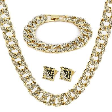 Buy 14k Gold Finish Fully Iced Out Hip Hop Cz Chain & Bracelet
