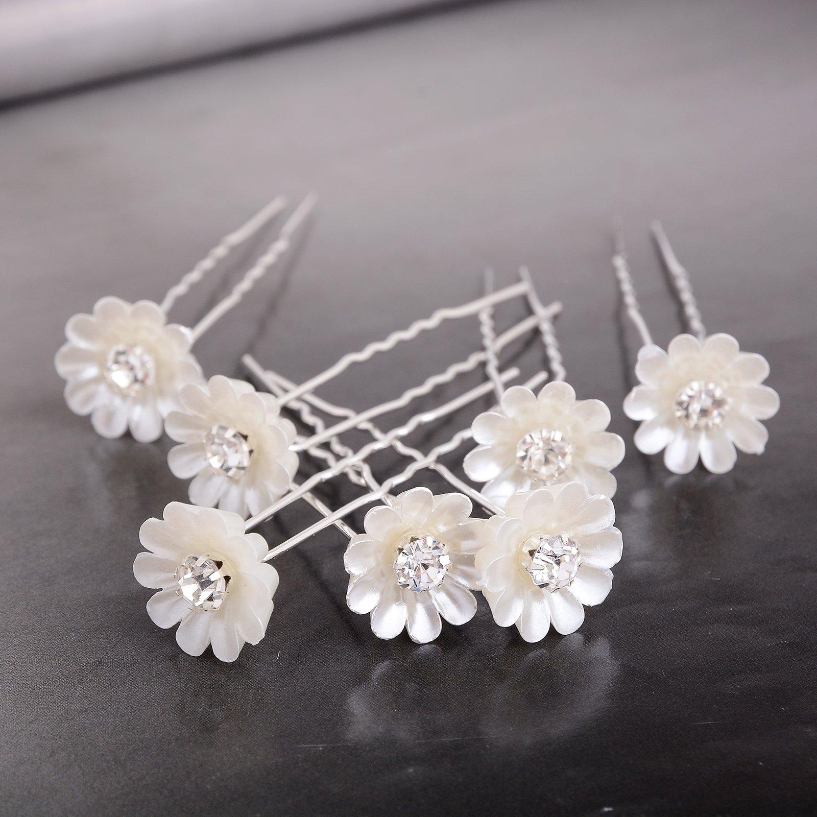 Yantu Womens Flower Hair Pins Bridal Wedding Hair Pin with Crystal (Pack of 20) (Big bead flower) by yantu