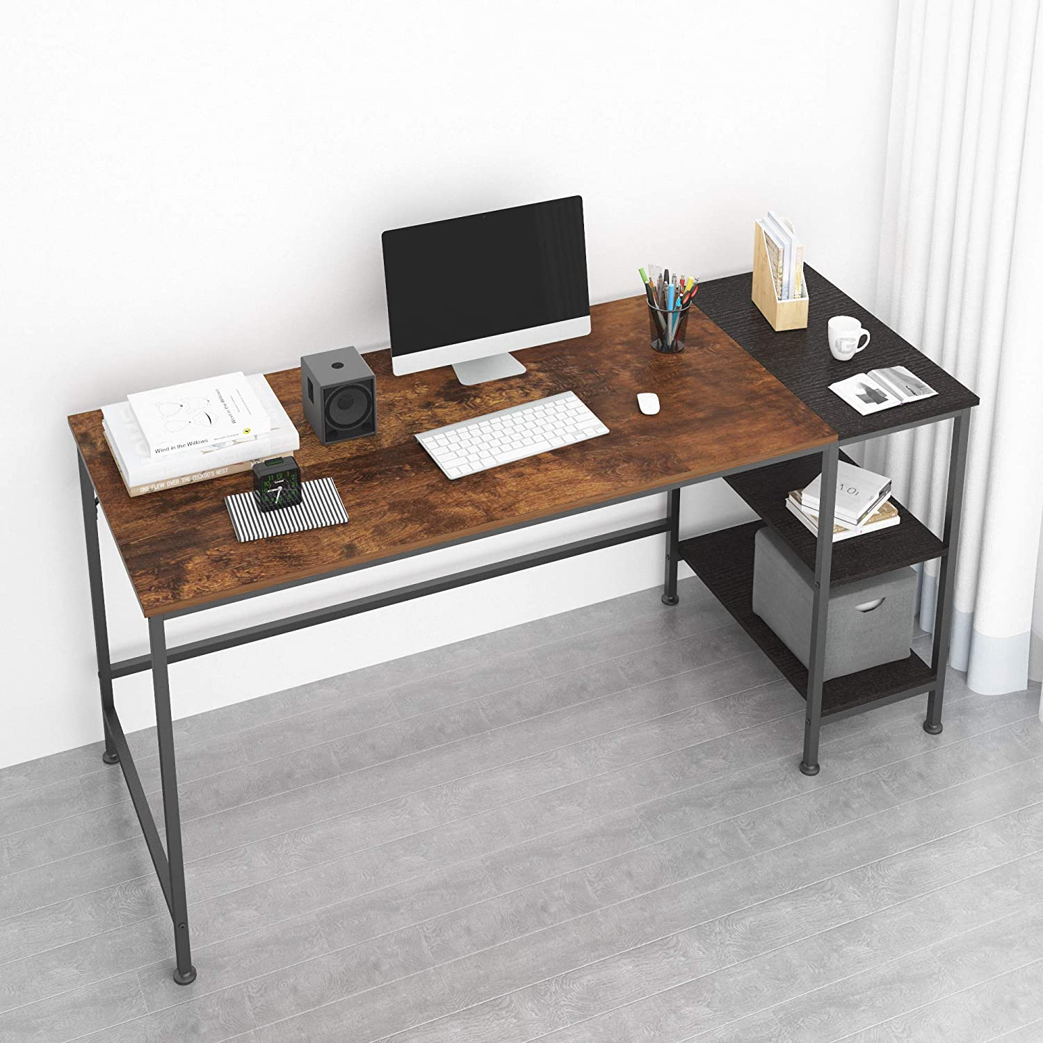 JOISCOPE Computer Desk with Shelves,Laptop Table with Wooden Drawer,60 inches(Vintage Oak Finish)