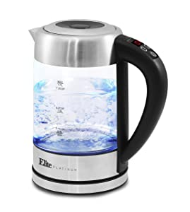 Elite Platinum EKT-1789D Electric Programmable Cordless Glass Kettle w/ 5 Temperatures Tea & Coffee, BPA-Free, Water Sterilizer, Auto Shut-Off & Keep Warm Function 1.7L (7.2 Cups) Stainless Steel