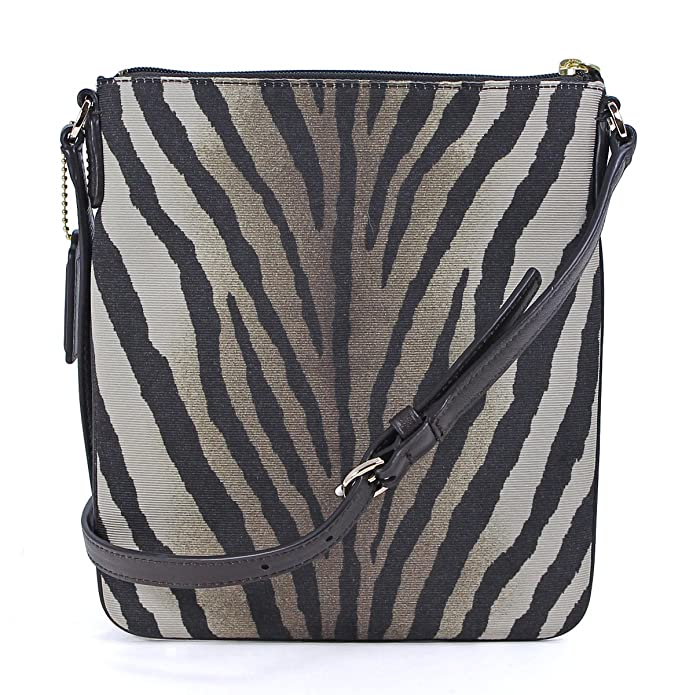 coach madison zebra print swingpack crossbody in light gold multi rh amazon com