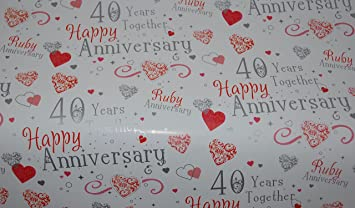 Ruby 40 years together happy wedding anniversary gift wrapping paper