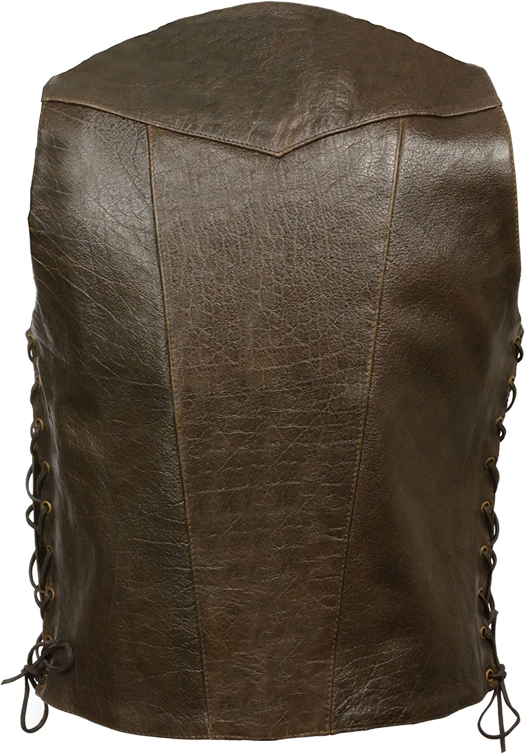 Milwaukee Leather Mens Retro Brown 10 Pocket Side Lace Leather Vest 44