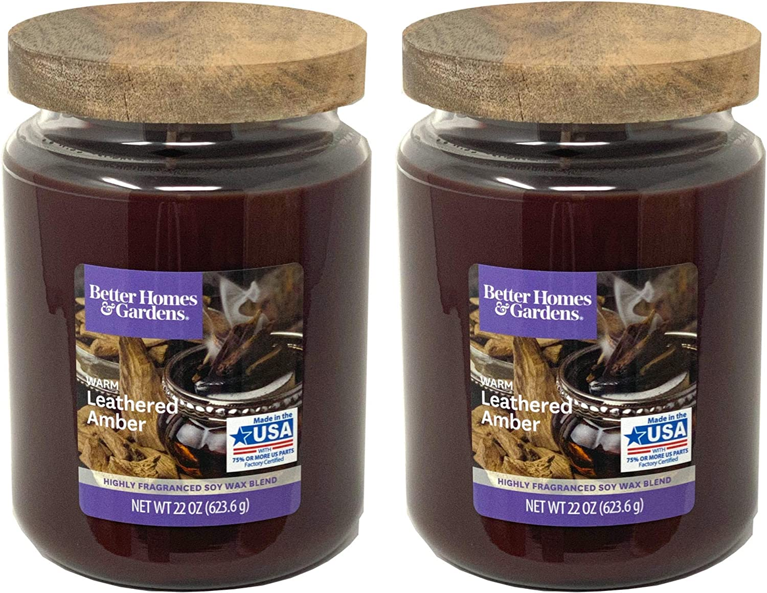 Better Homes Gardens 22oz Scented Candle, Warm Leathered Amber 2-Pack