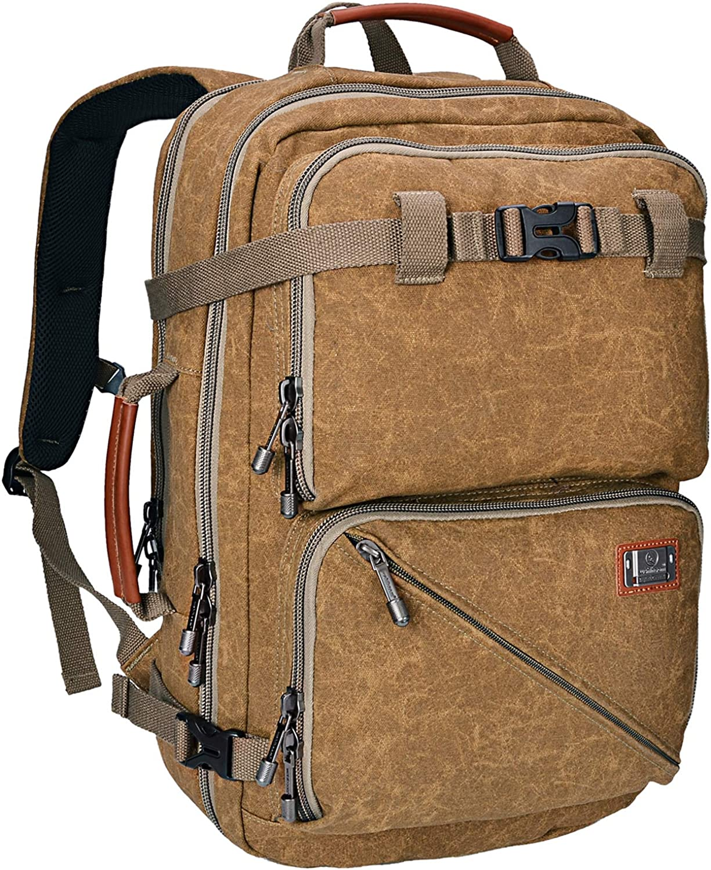 Canvas Backpack for Men WITZMAN Travel Rucksack Laptop Bag