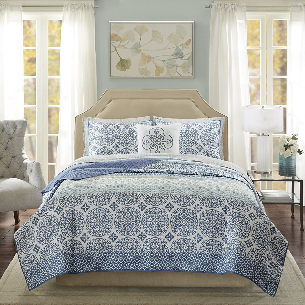 Madison Park Essentials Sybil Cal King Size Quilt Bedding Set - Blue, Striped – 8 Piece Bedding Quilt Coverlets – Ultra Soft Microfiber Bed Quilts Quilted Coverlet