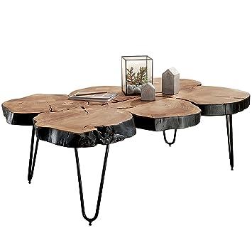 Finebuy Table Basse 115 X 70 X 40 Cm Bois Massif En Forme De