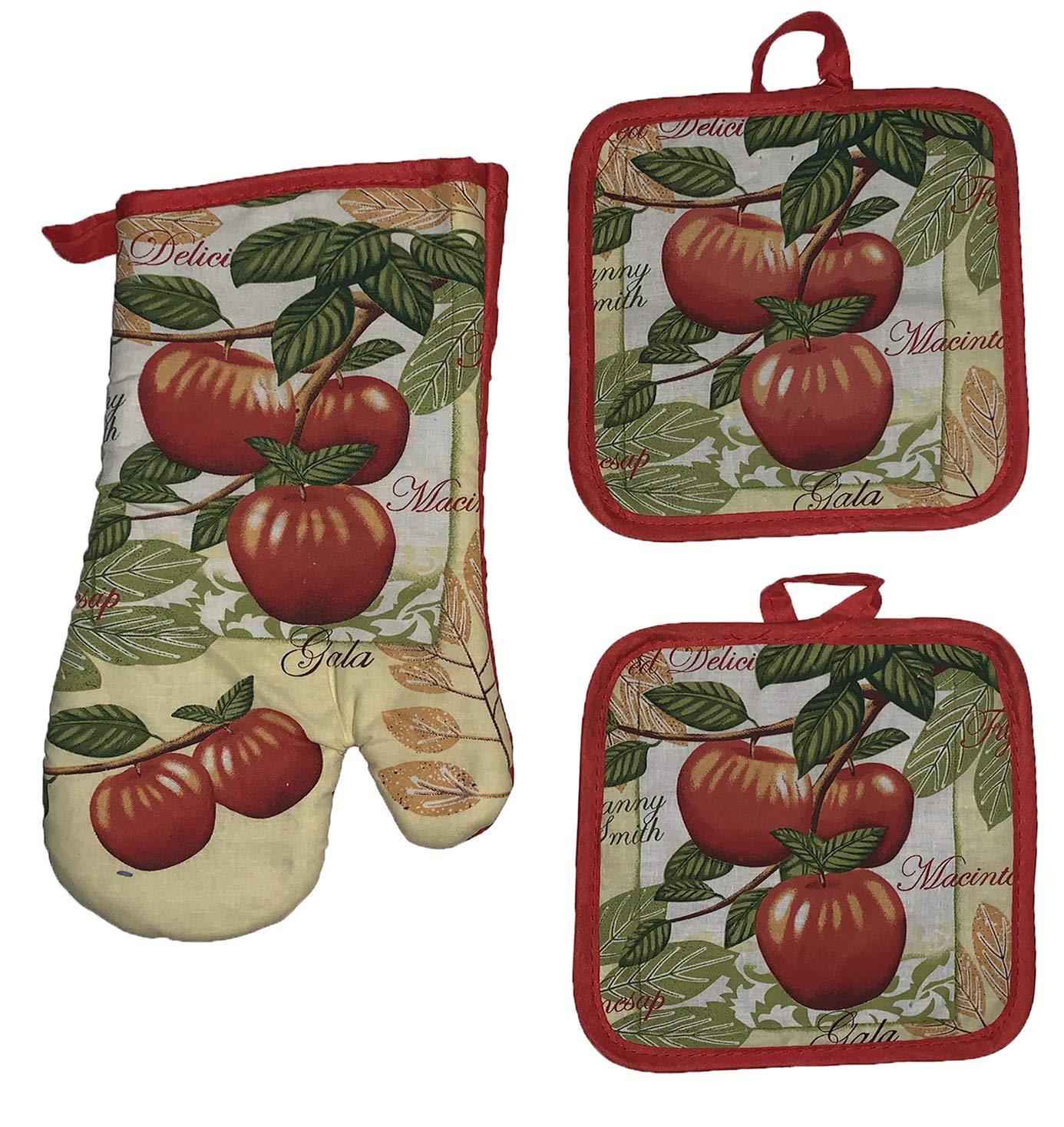 Cotton Konnection Set of 3, Fruit Print Decorative Kitchen Set Includes 1  Oven Mitt, 2 Pot Holders. (Gala Apple)