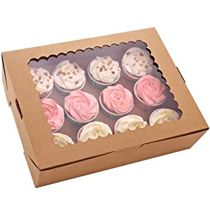 15-Set Cupcake Boxes Hold 12 Standard Cupcakes, Brown Cupcake Carrier, Cupcake Containers, Food Grade Kraft Cupcake Holders for Cookies, Muffins and Pastries