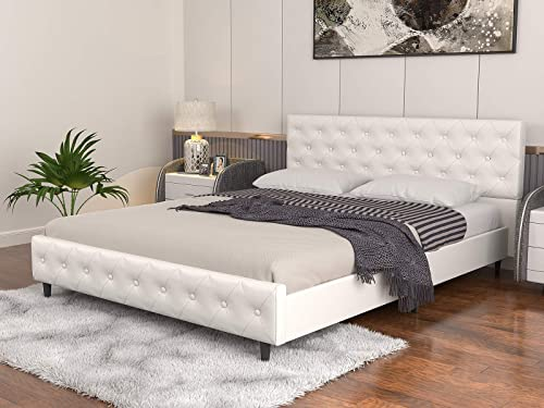 Mecor White Upholstered Faux Leather Platform Bed
