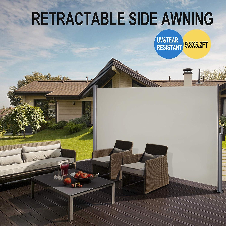 Amazon.com : Belleze Retractable Side Awning Patio Waterproof Sun Shade  Screen Divider W/Handle (9.8 X 5.2ft), Beige : Garden U0026 Outdoor
