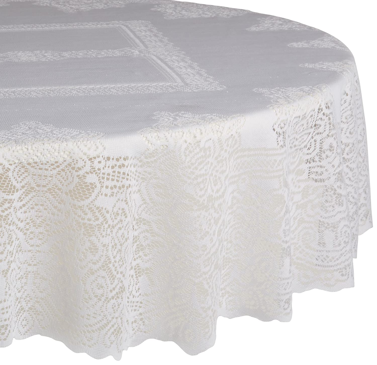White Victorian Lace Round Tablecloth Overlay