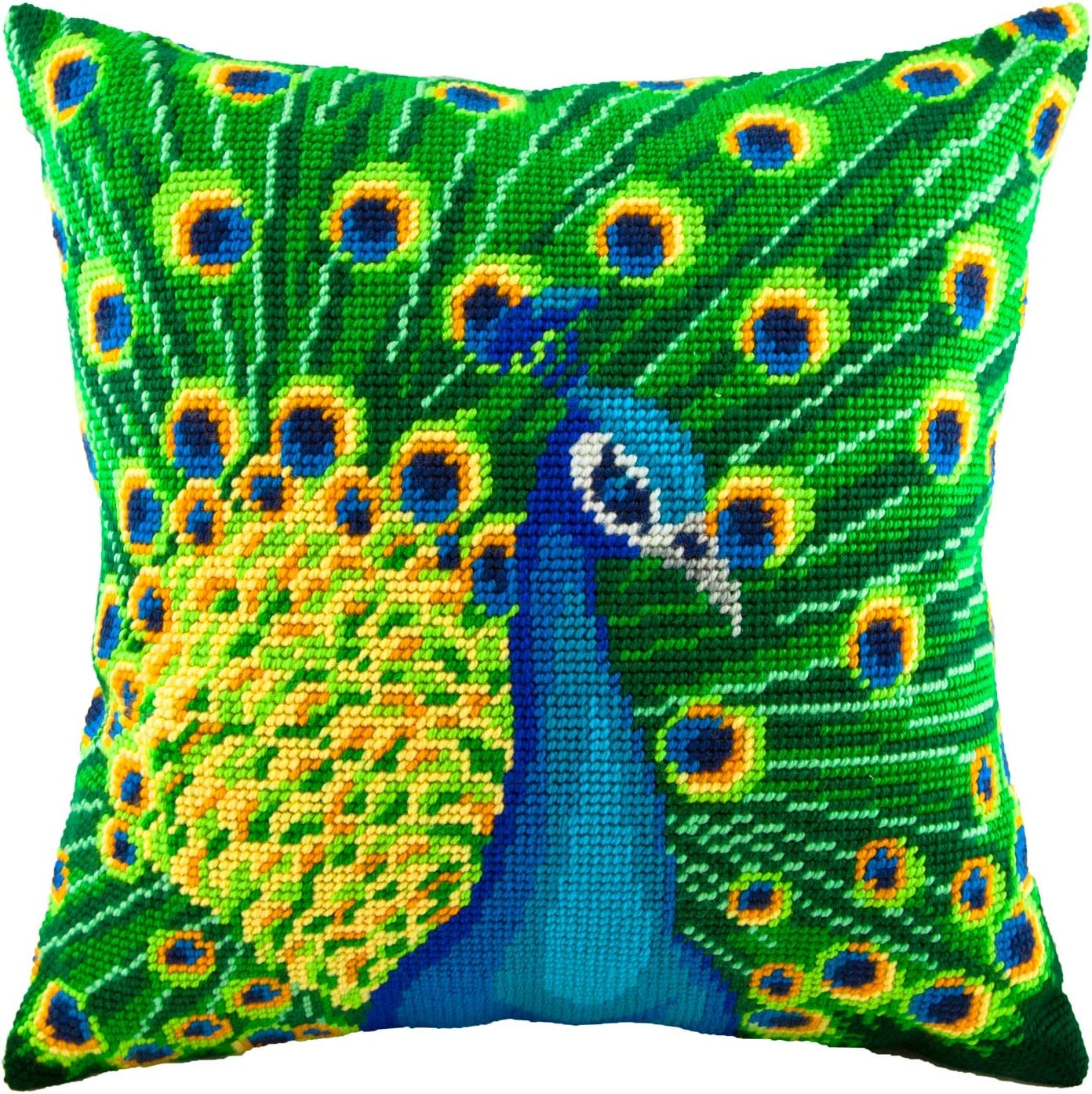Throw Pillow Case 16/×16 Inches European Quality Home Decor Cross Stitch Kit hen Peacock Stamped Tapestry Canvas DIY Embroidery Needlepoint Cushion Cover Front Orient wild animals birds