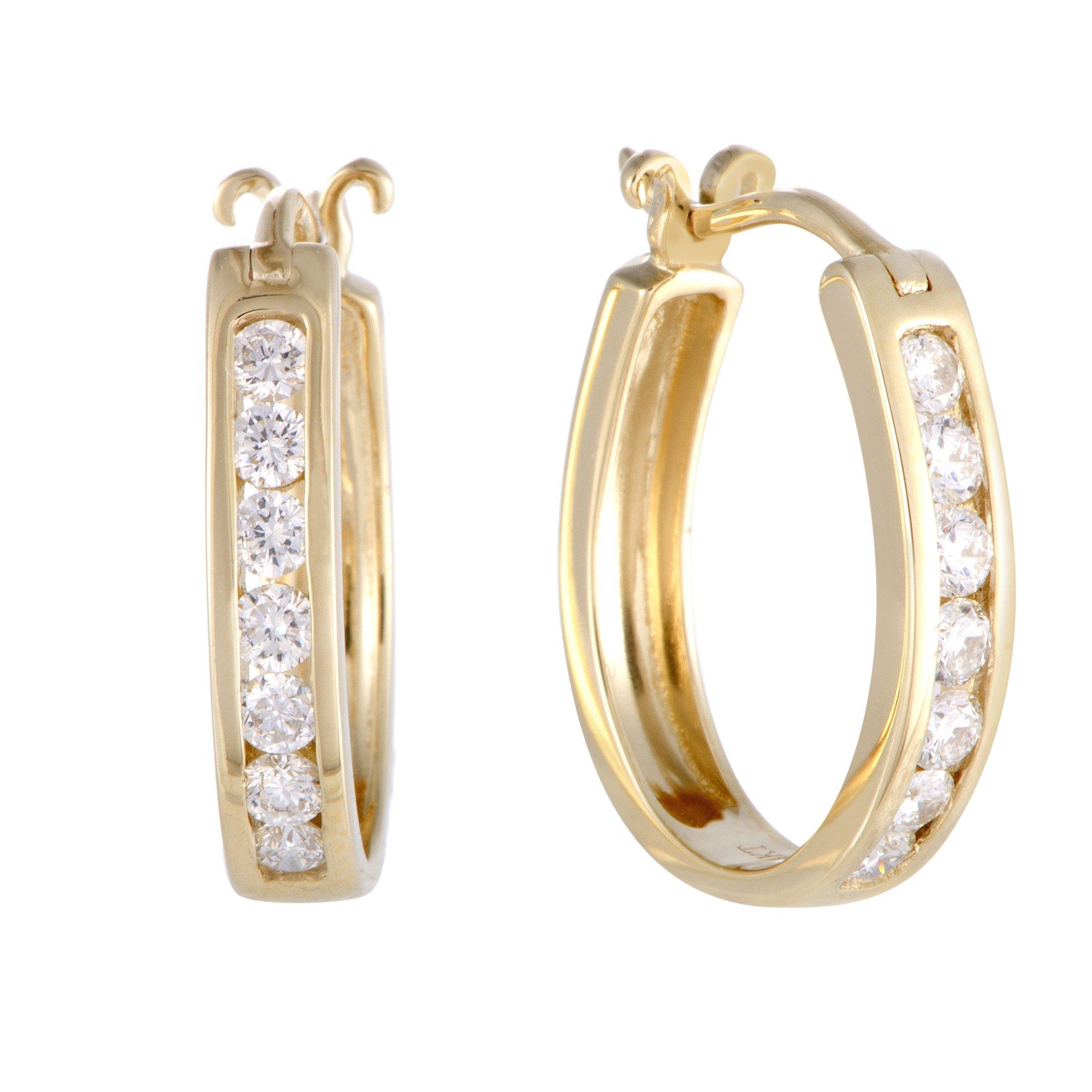 0.5 Carat (ctw) Diamond Channel Horseshoe Hoop Earrings in 14K Yellow Gold; 1/2 CT White Diamonds (G Color, SI1-SI2 Clarity) in 0.75'' Hoops by Luxury Bazaar (Image #1)
