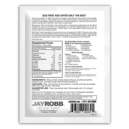Amazon.com: Jay Robb - Grass-Fed Whey Protein Isolate Powder, Outrageously Delicious, Vanilla, 12 Packets: Health & Personal Care