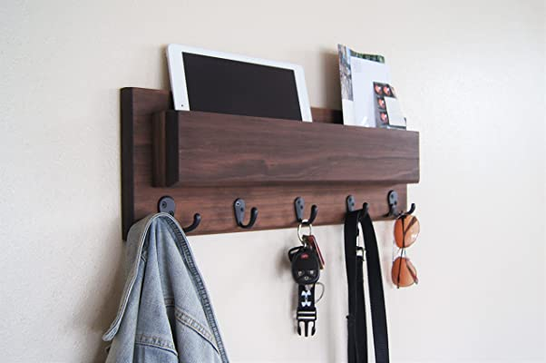 Mail Organizer Wall Mount Walnut Finish with Oil Rubbed Bronze Coat and Key Hooks