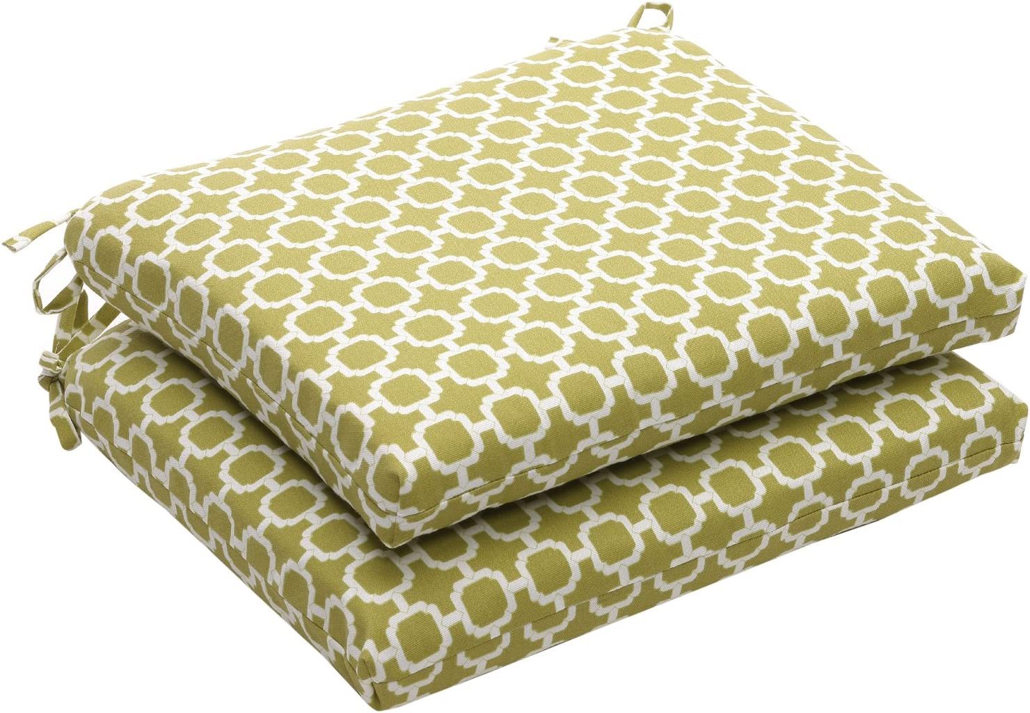 Pillow Perfect Indoor Outdoor Geometric Square Seat Cushion, 18.5 in. L X 16 in. W X 3 in. D, Green White
