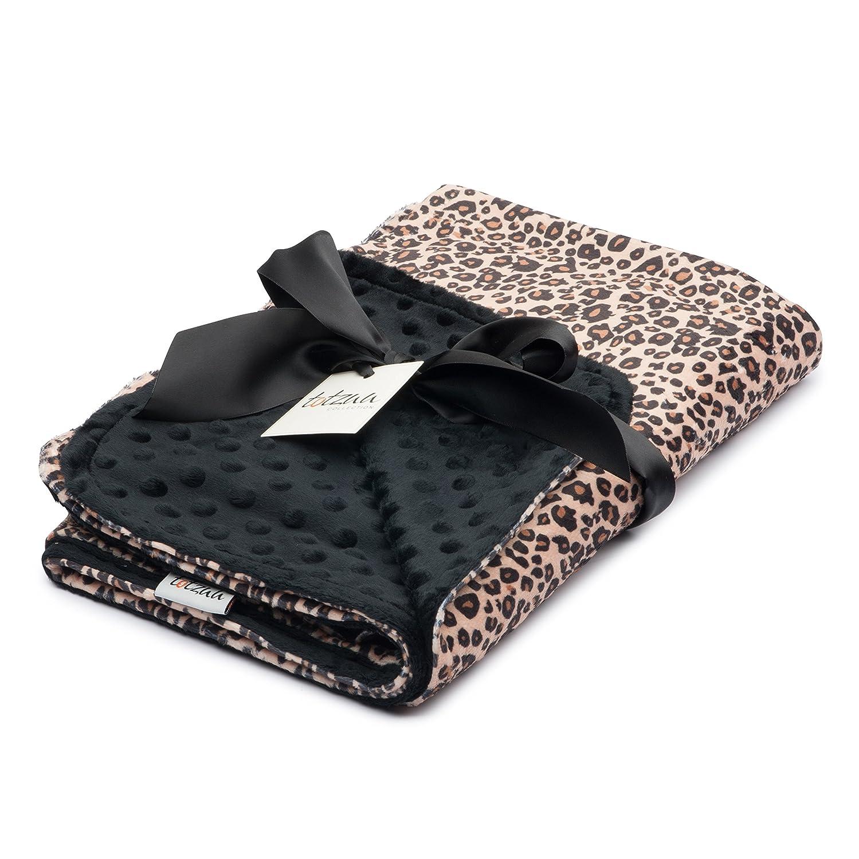 Totzuu Minky Baby Blanket Leopard Print with Black Minky Dot