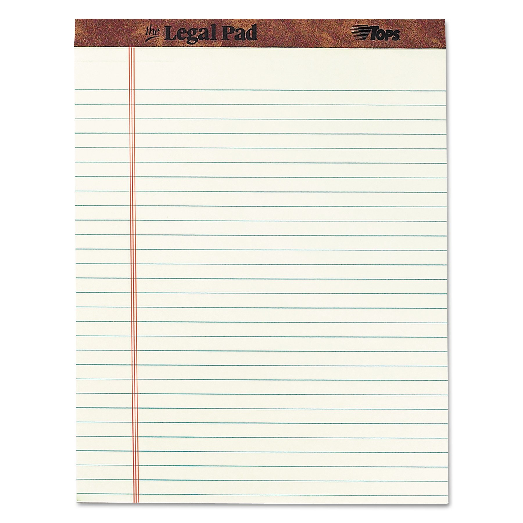 TOPS 7534 ''The Legal Pad'' Ruled Perforated Pads, 8 1/2 x 11 3/4, Green Tint, 50 Sheets (Case of 12 Pads)