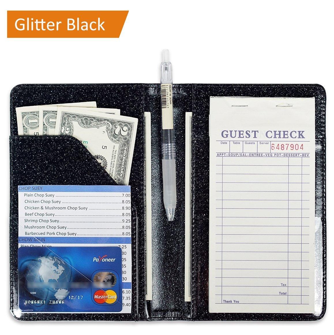 Glitter Black Server Book for Waitress Book Server Wallet Waiter Book Cute Bling Waitstaff Organizer Fit Waitress Apron (Glitter Black)