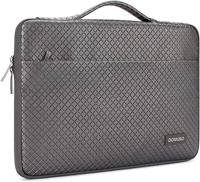 DOMISO 10.1 Inch Waterproof Laptop Sleeve Leather Case with Handle Protective Cover for 10.1-10.5 Inch Laptops/eBooks/Kids Tablet/iPad Pro/Air/Lenovo Yoga Book/Asus/Acer, Silver Gray