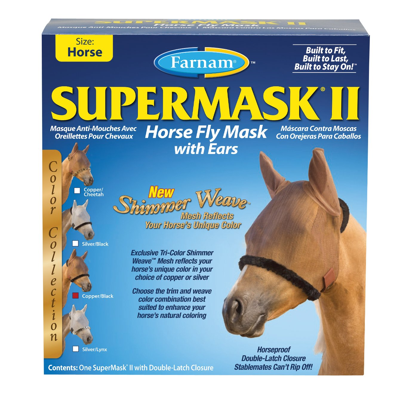 Farnam SuperMask II Shimmer Weave Horse Fly Mask with Ears, Horse size, Copper Mesh with Black Trim