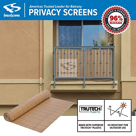 Amazon.com : Fenpro Balcony Privacy Screen PVC Slat Roll for ...